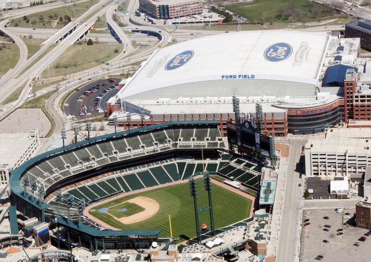 Comerica Park and Ford Field  Picture of Comerica Park and Ford Field from above.  We go to both of these venues often.