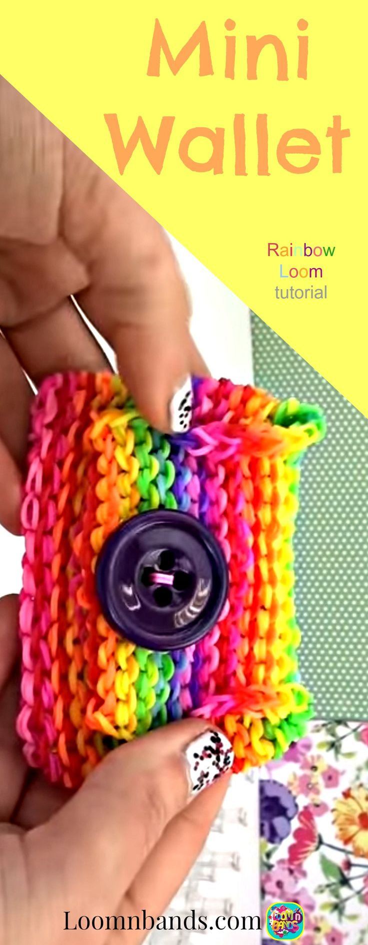 Rainbow Loom Mini Wallet With Large Button and Flap. All Rainbow Colors and…