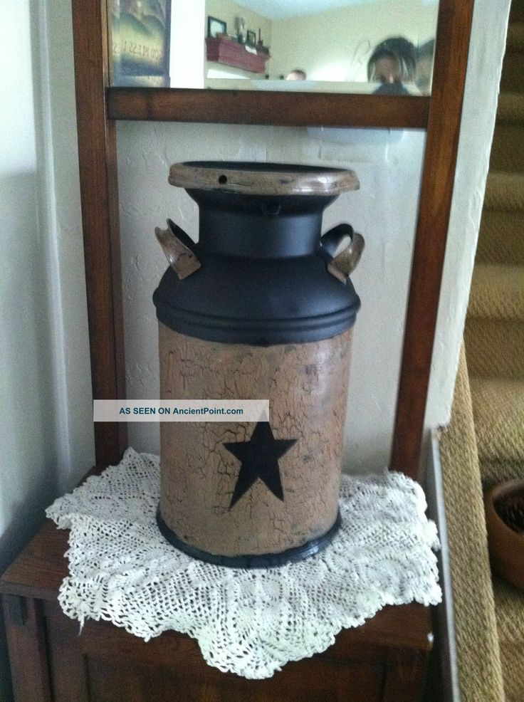 Primitive,  Americana,  Country,  Farmhouse Vintage,  Antique Milk Can Decor Primitives photo
