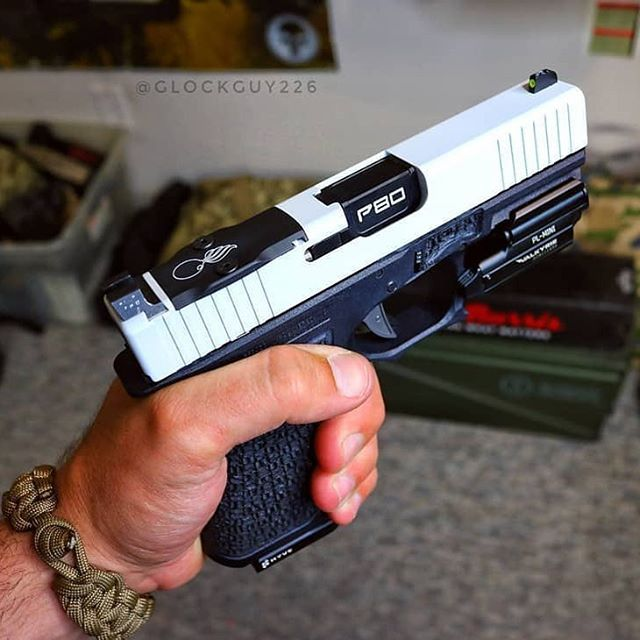 That white slide with our P80 Black DLC Barrel sure make a great