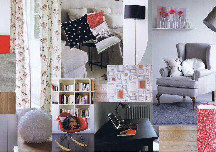 Planche tendance féminine en rouge et gris pour le relooking d'une chambre d'ado