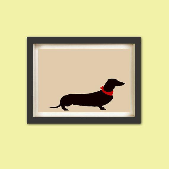 Dachshund art  Fine art print dachshund dog silhouette by ialbert, $30.00