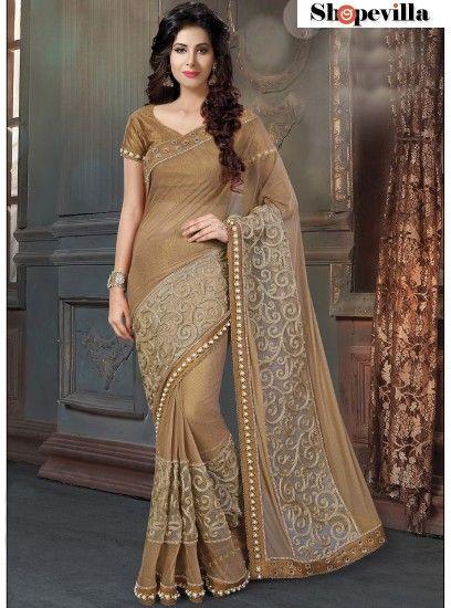 Classy Brown Fancy Net Designer Saree-4215