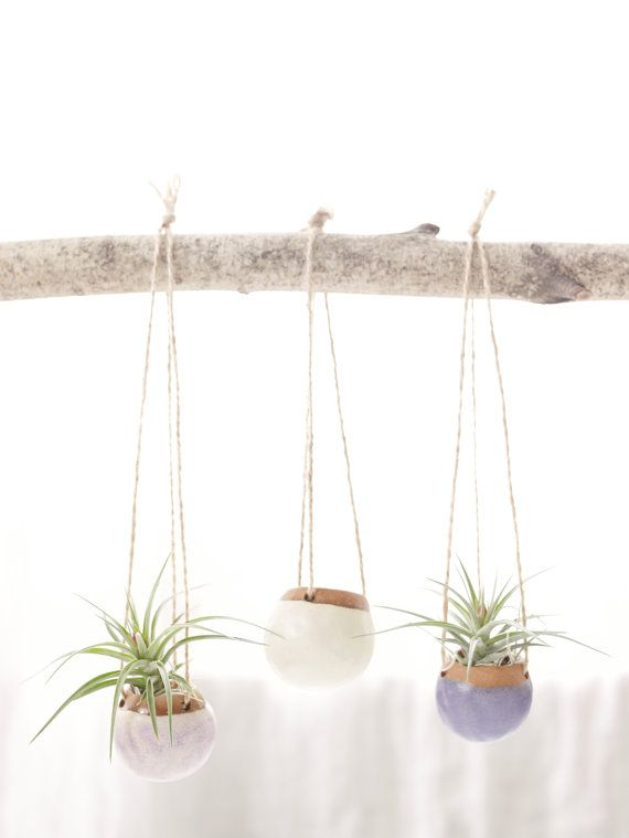 Set of Three Small Hanging Planters.  Planters for Airplants in Orchid, White, and Lapis. MADE TO ORDER