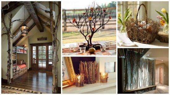 Idei de decoratiuni si ornamente din crengi si ramuri de copac - proiecte DIY pentru casa