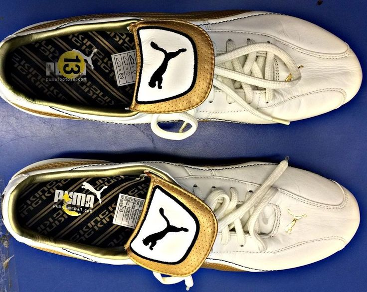 PUMA King XL i FG Football Boots Soccer Cleats size 13 Gold White Leather #Puma #Cleats