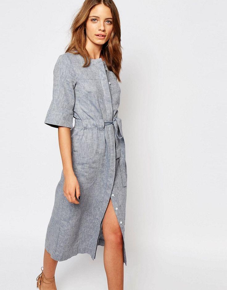 Imagen 1 de Vestido a media pierna en tejido de lino de Warehouse