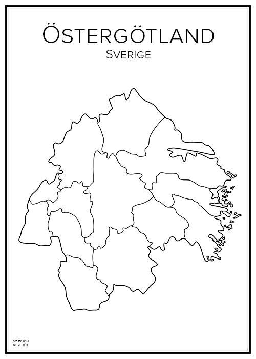 Östergötland. Sweden. Map. City print. Print. Affisch. Tavla. Tryck.