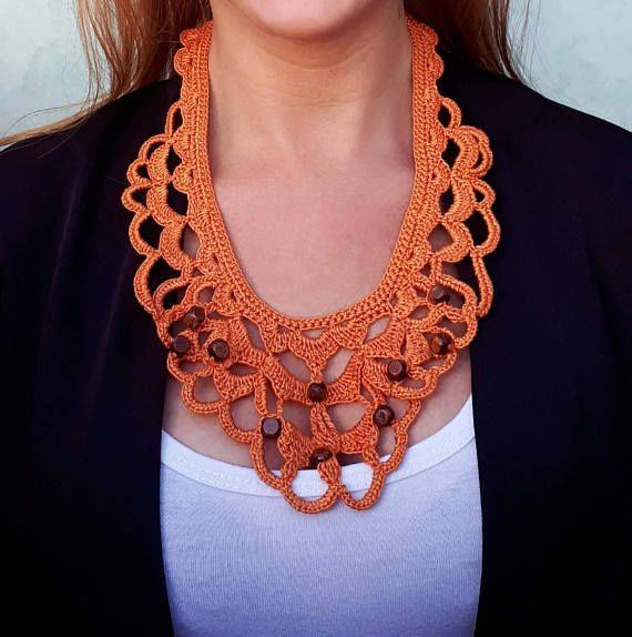 Orange crochet necklace fiber art collar orange lace