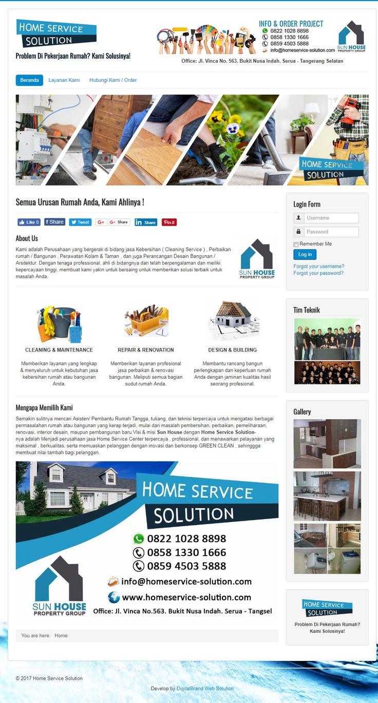 Home Service Solution - Website jasa cleaning service & houskeeping. Desain simple namun elegan membuat bisnis jasa jadi tampil lebih profesional.