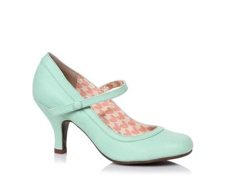Bettie Page Mint Green Retro Mary Jane Heeled Shoes