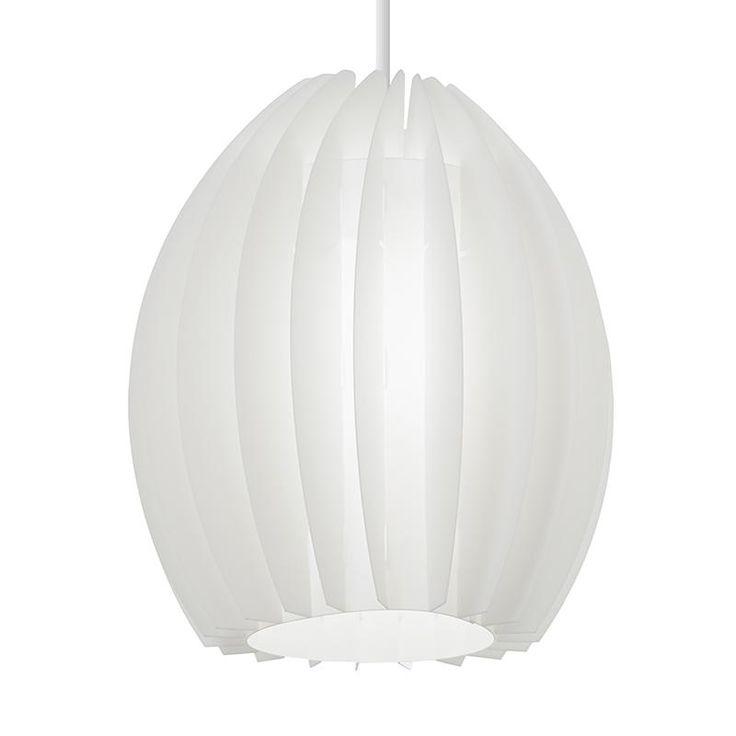 Endon OSKAR-1WH White polyprop pendant   Electricsandlighting.co.uk  