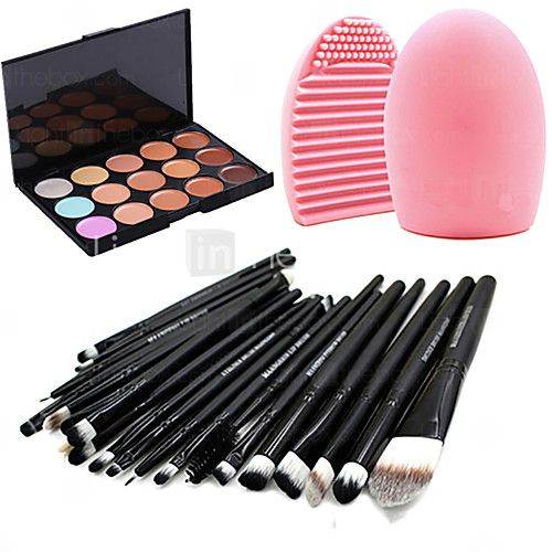 20pcs makeup set Professional/Full Coverage Powder Foundation/makeup brush set+15Color Concealer+Brush Cleaning Tool - USD $10.99