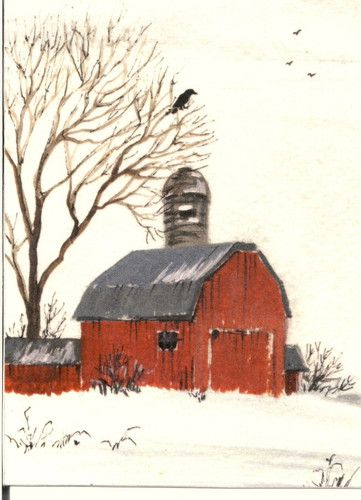 5x7 RYTA PRINT OF PAINTING CHRISTMAS RAVEN CROW RED BARN TREE WINTER SCENE SNOW