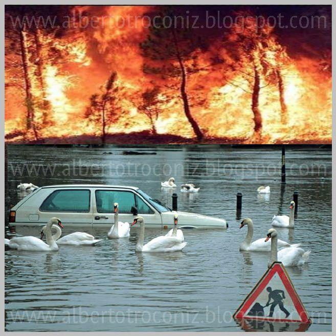 """¡QUÉ MALA SANGRE!; ¡QUEMA LA SANGRE …el tener que asistir al espectáculo todos los años y por partida doble: en el veranoa incendios forestales y en el invierno a las inundaciones! … que devastan este pobre suelo patrio ¿Se ha de sufrir de forma indefectible que algún """"busto parlante"""" por la tele —cara de póquer de """"aquí no pasa nada""""— frente a imágenes dantescas cataclísmicasnos relate el incendio o la riada como cosa… (Ver➦)…"""