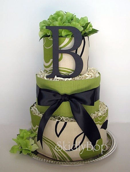 Beautiful new way for diaper cakes! @Gretchen Butler - check it out...