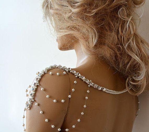 Wedding Rhinestone Jewelry Wedding Dress Shoulder by ADbrdal