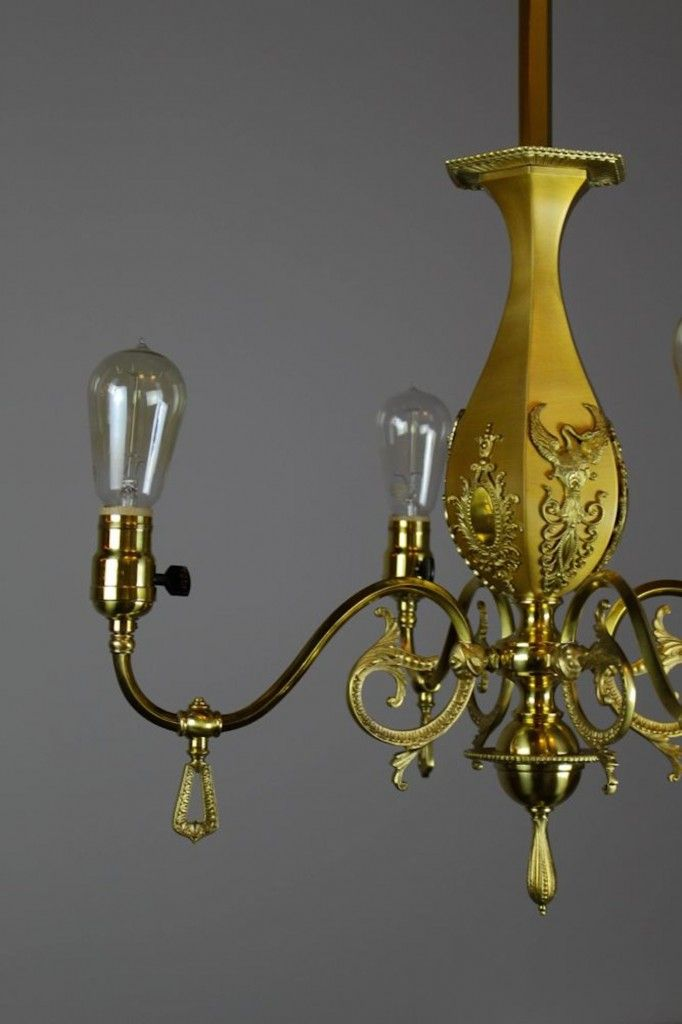 Ca 1905 a lovely victorian style decorative brass bare bulb fixture by r