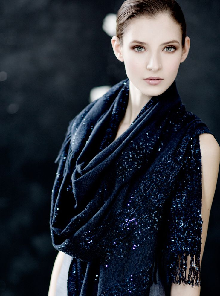 Ultra fine cashmere lace floral sequined border scarf.