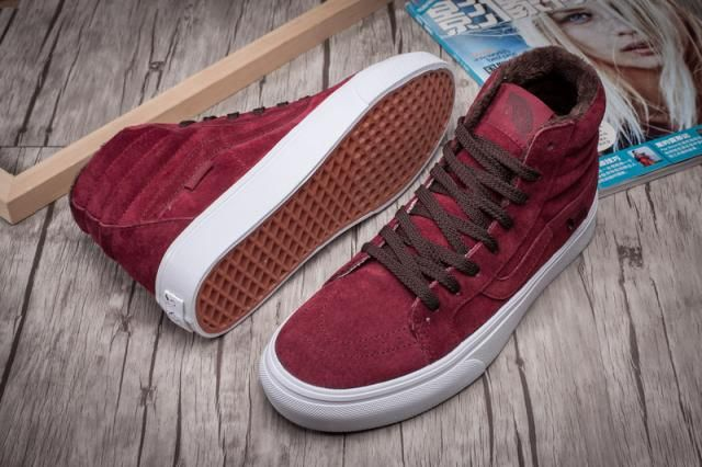 d6ba3b05aa Vans Plus Velvet Pig-Leather SK8-Hi Classics Port True-White Womens Shoes