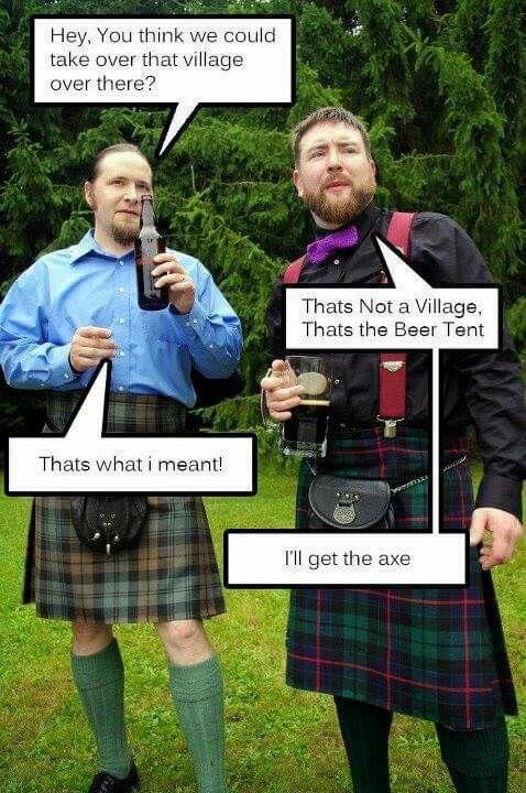 Funny scottish men in kilts