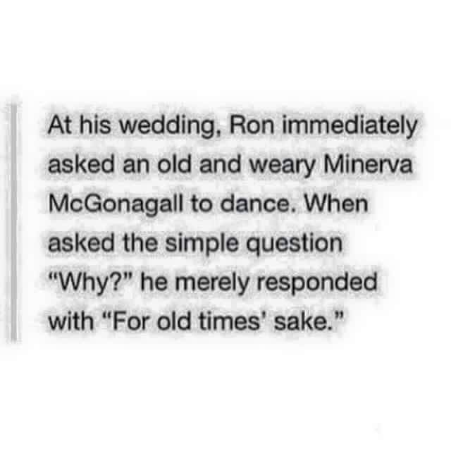 Ron Weasley Dancing with McGonagall at his Wedding Harry Potter headcannons