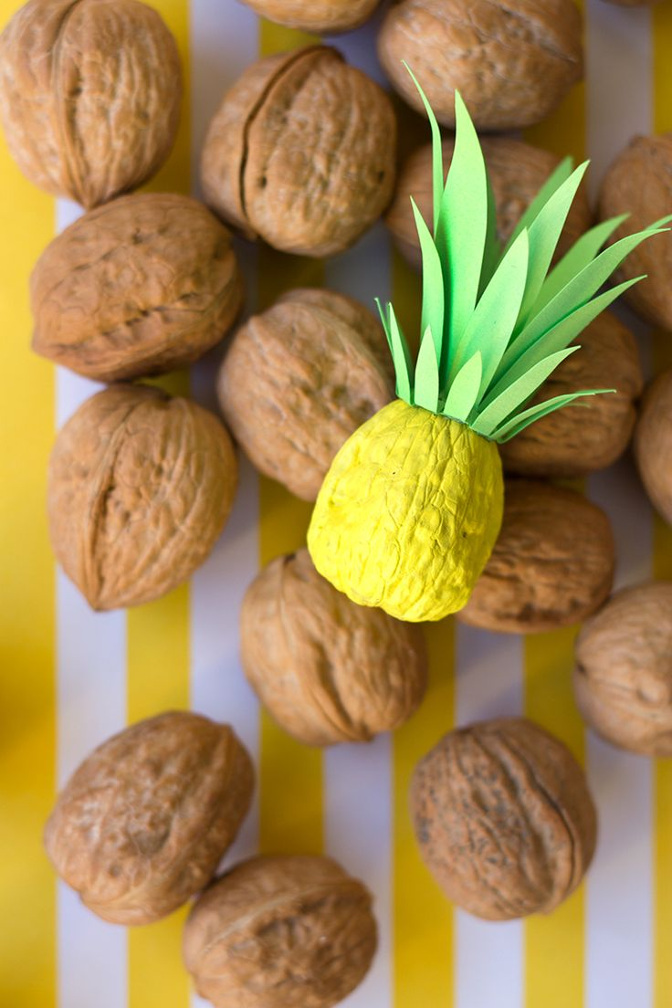 DIY Itty Bitty Pineapples (from walnuts!)