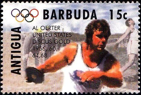 Stamp: Al Oerter, US, discus (Antigua and Barbuda) (1996 Summer Olympics, Atlanta) Mi:AG 2141,Sn:AG 1891