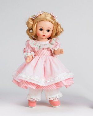"""Madame Alexander Dolls, 8"""" Amy, Little Women Collection by Alexander Dolls. $61.49. Little Women Collection. New design. Blonde hair. Amy. Light pink striped dress with white pinafore. From the Manufacturer                The tradition of Madame Alexander Continues…The Alexander Doll Company continues to create dolls to delight new generations of doll lovers while honoring Madame Alexander's original vision and standards.  Our signature collectibles like 8"""" Wendy and Maggie..."""