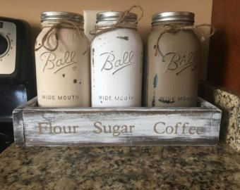 Kitchen canisters, HALF GALLON JARS, flour sugar coffee canister, cooking storage, kitchen storage