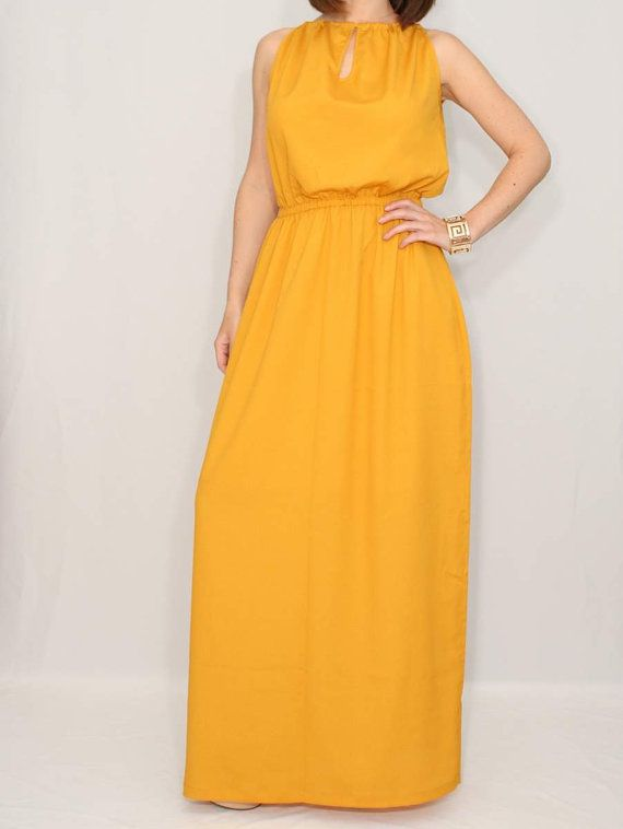 Long bridesmaid dress party dress evening dress mustard for Yellow maxi dress for wedding