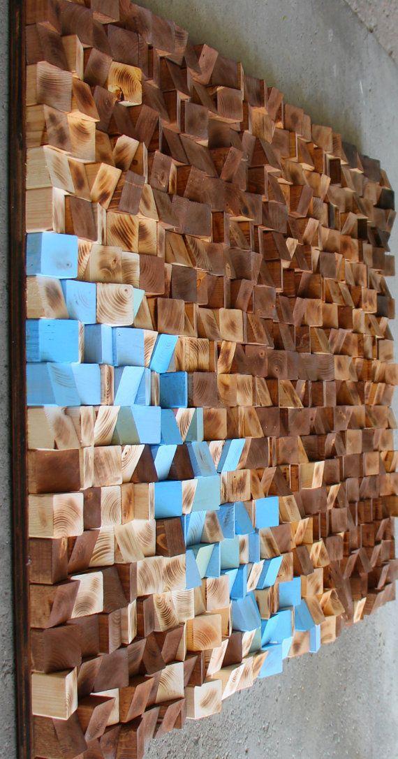 Grande madera recuperada pared arte mosaico Woodburning Wood