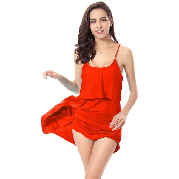 Red Sexy String Womens Plain Trendy Modest Beach Dress ($18) ❤ liked on Polyvore featuring dresses, red, beach dress, sexy dresses, red day dress, sexy red dress and sexy beach dresses