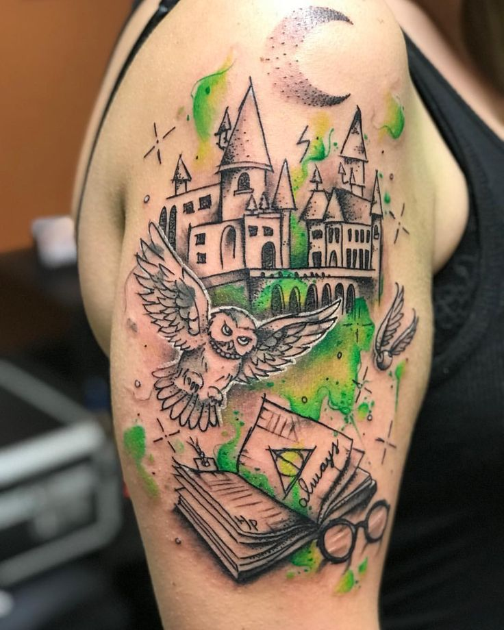 """120 Likes, 5 Comments - Jay Purdy (@jaywpurdy) on Instagram: """"Did this fun Harry Potter tattoo today! Thanks for looking. #harrypotter #harrypottertattoo #tattoo…"""""""