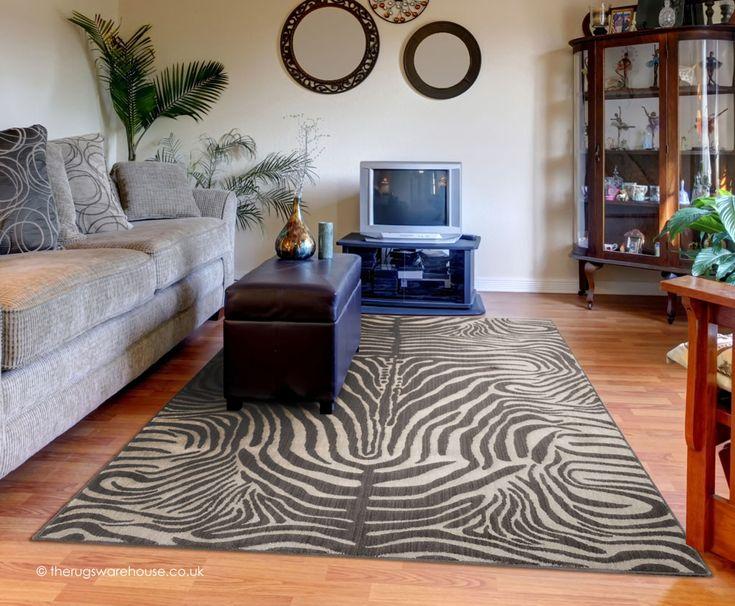 Madagascar Graphite Rug A Soft And Luxurious Wool Viscose Blend Carpet With Zebra