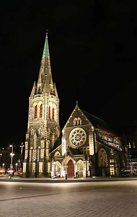 Christchurch Cathedral - New Zealand.  Between 2011 and 2012 Christchurch was 20 percent demolished by a series of earthquakes.  Decision was made, after much discussion and disagreement, to demolish the remains and build new.  A temporary building has been erected for use in the interim.