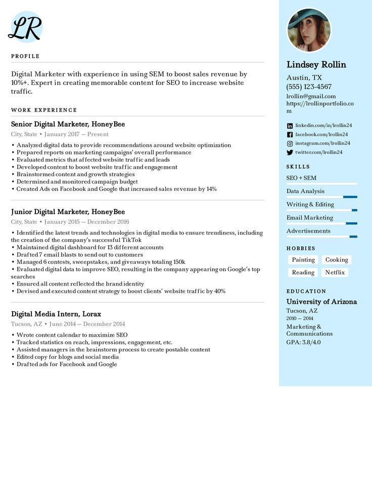 Digital Media Marketer Resume Example in 2020 Resume
