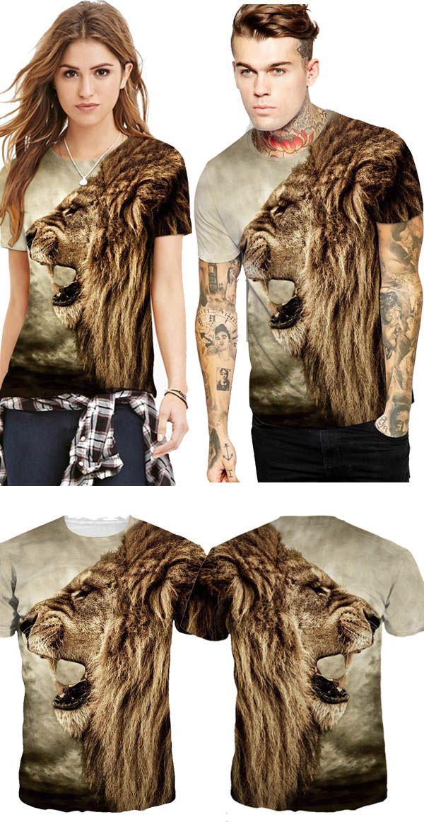 88c1186fb Lion Roar Pattern Design Personality Style Round Neck 3D Painted T-Shirt  for Men&Women   Design idea for tshirt..   T shirt painting, Shirts, Mens  fashion