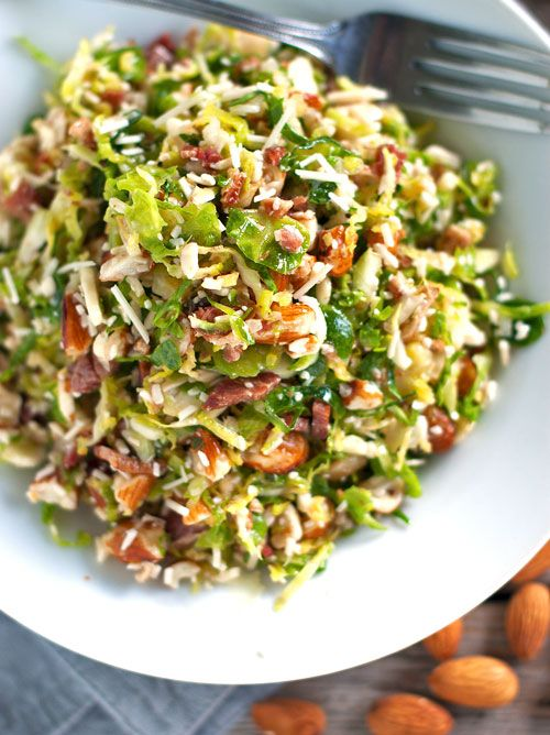 Bacon and Brussel Sprout Salad- I think I'd replace the bacon with turkey bacon or something like that.