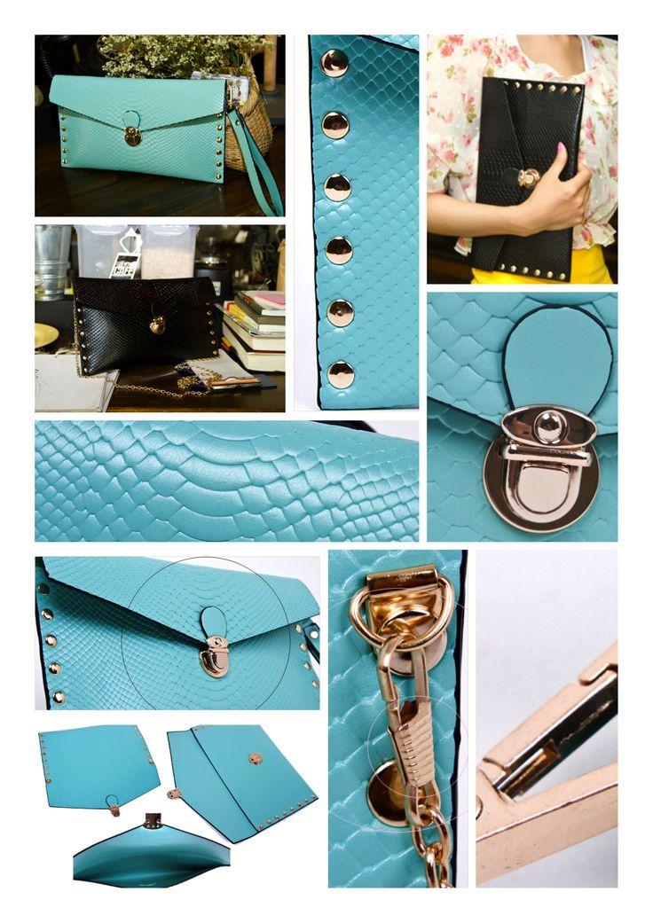 Elegante y delicada cartera tipo clutch con aplicación de tachas en sus bordes.