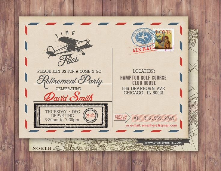 Time flies, Vintage Airplane, post card, retirement party, Birthday Invitation- Vintage / Rustic / Airplane / ticket invitation, by LyonsPrints on Etsy https://www.etsy.com/listing/492860791/time-flies-vintage-airplane-post-card