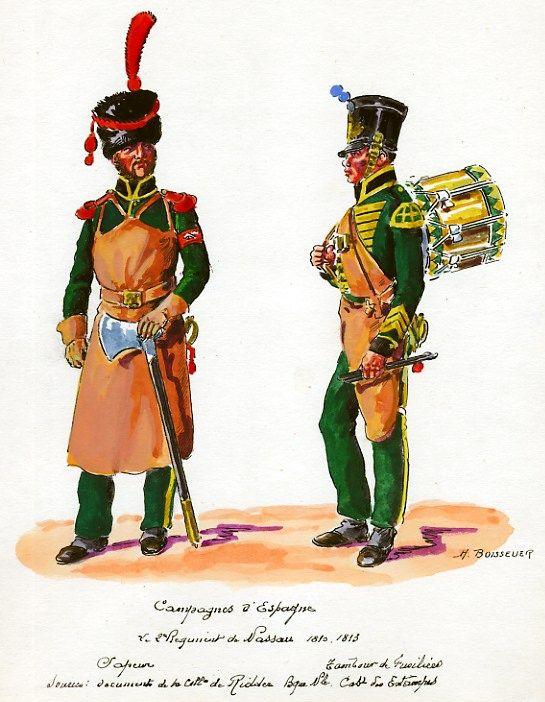 Nassau; 2nd Infantry Regiment, Sapper & Fusilier Drummer in Spain, 1810-13 by H.Boisselier.