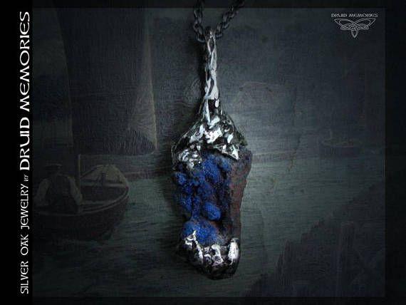 Raw azurite pendant Hobarth Druids jewelry druids
