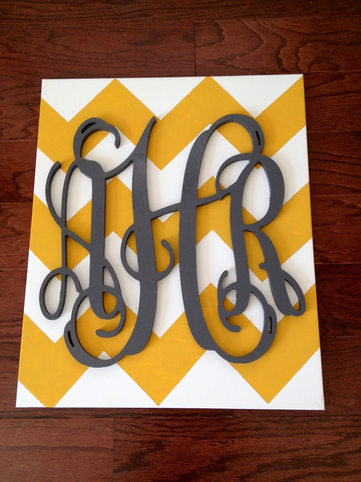 wooden monogram on a chevron canvas - diy
