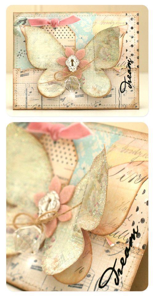 butterfly inspiration: Butterflies Dreams, Cardgreet Cards, Birthday Cards, Butterflies Inspiration, Shabby Chic Cards, Butterflies Cards, Vintage Butterflies, Cards Templates, Cardw Cards