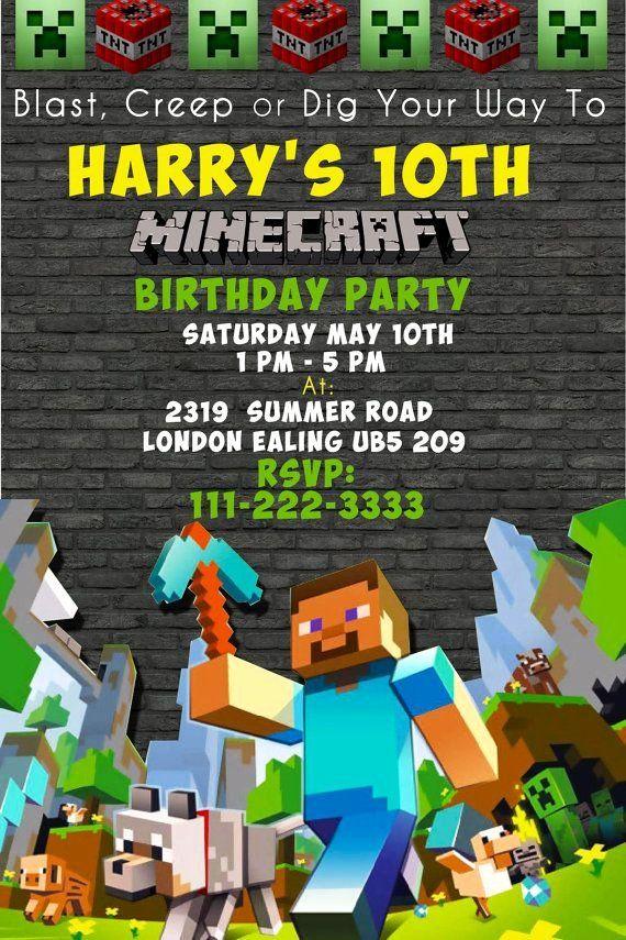 minecraft birthday invitations invitation printable template invites 9th card printables happy decorations parties ninjago 11th mindcraft 8th player etsy