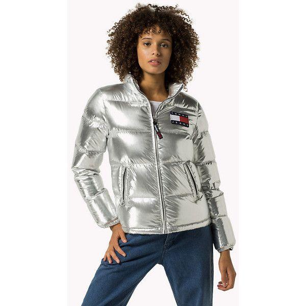 Doudoune Argentée featuring polyvore, white jacket, silver puffer jacket, puffer jacket, white puffer jacket and silver jacket