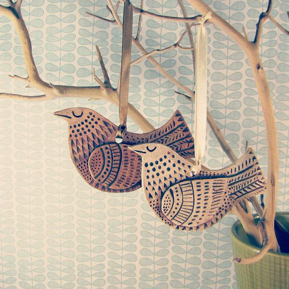 Ceramic bird ornament Scandinavian Mod style by kenguroo on Etsy, $28.00