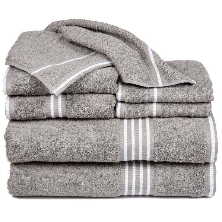 Stripe Bath Towels And Washcloths 8pc Silver - Yorkshire Home