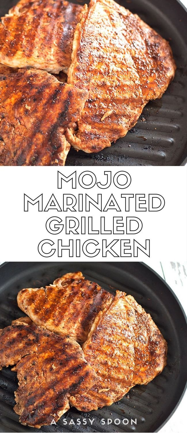 Chicken breast marinated in mojo (garlic citrus marinade) and spices then grilled under a brick to get those juicy grill marks! via /asassyspoon/